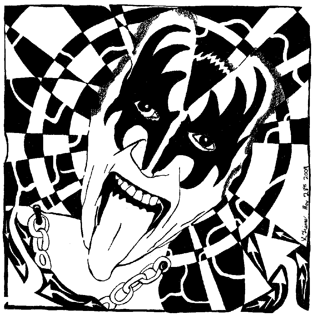 Gene Simmons, Kiss, Maze, Maze portrait, maze art