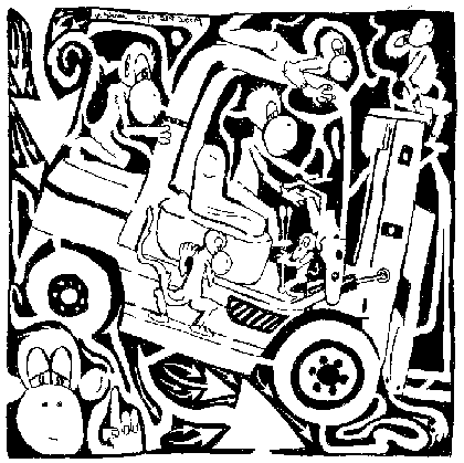 Maze Comic Team Of Monkeys on A Forklift