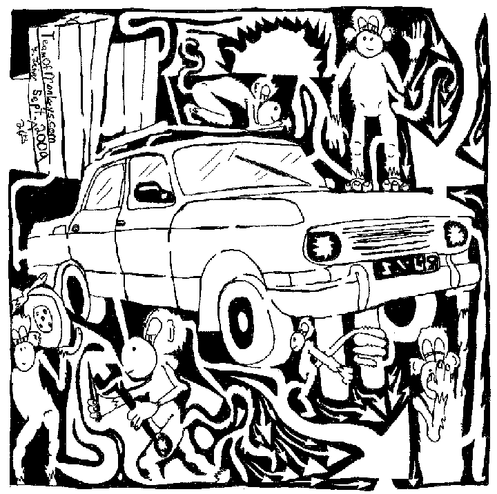 maze comic of team of monkeys changing a tire