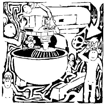 maze comic team of monkeys cake mixer