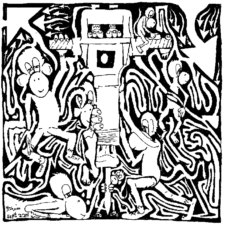 maze comic of team of monkeys on a jackhammer