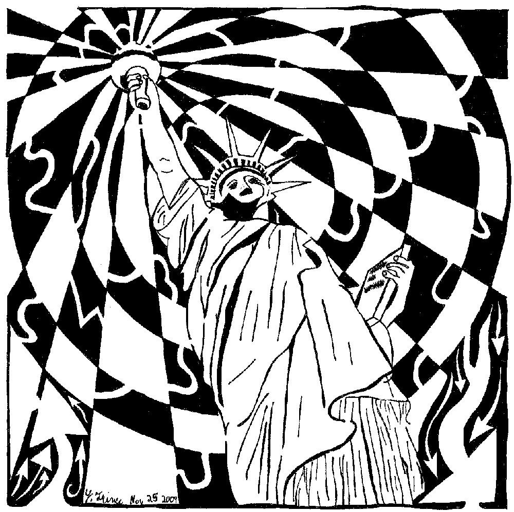 statue of liberty maze pschedelic maze art